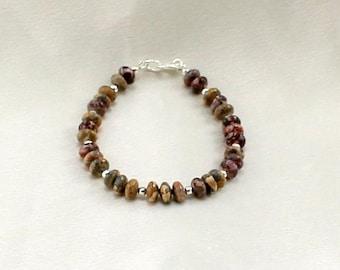 Jasper Bracelet.  Gemstone Bracelet.  Neutral Jewelry