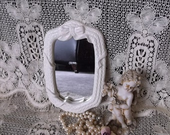 Small shabby mirror, creamy white, ribbon and weave, painted vintage, resin mirror