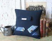 Navy Blue Wool Menswear PILLOW COVER - Suit Jacket Pocket, Necktie