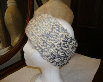 Hand Knitted Headband in shades of Grey and Creme