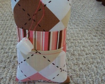 Tooth Fairy Pillow with tooth holder: Arycle (pink, brown, cream, white)