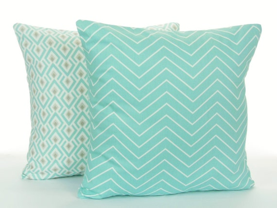 Spa Blue Throw Pillow Cover : Spa Blue Tan Throw Pillow Covers Pair of Decorative Pillow