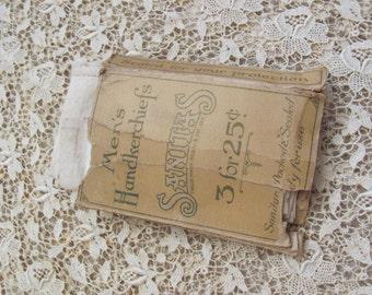 Antique Box of Mens Cotton Hankies - Early Century Sanitas