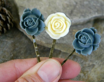 Flower hairpins dusty blue and ivory flower bobby pins nature inspired hairclips woodland hair accessories bridesmaid gift woodland wedding