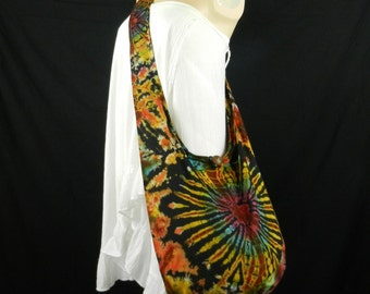 Red Heart Tie Dye Bag Purse Hobo Hippie Sling Crossbody Messenger Classic Top Zip  OAK VK14