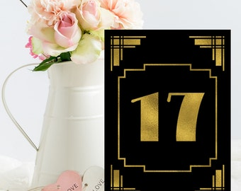 Printable table numbers, Gold foil table numbers, Gatsby wedding signs, wedding table numbers, gold wedding decor, printable wedding, 1-30
