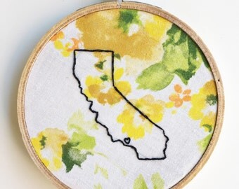 California state outline. Hand embroidery. Los Angeles love. Personalize initials names or date. Gifts under 50. Wall art. Home decor