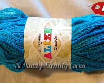 Alize Alize Dantela Ruffle Lace Yarn, 24m 100g, sashay, Ruffling, ribbon, scarf knit crochet Rumba Salsa in blue(16), mesh yarn, net DSH(Al)