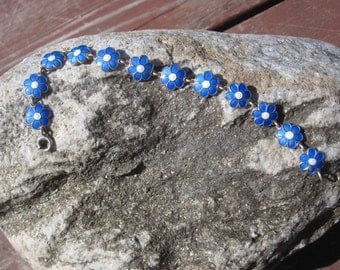 Blue Flower Enamel and Sterling Bracelet