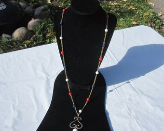 Vintage Red,White and Blue Bead and Chain Pendant