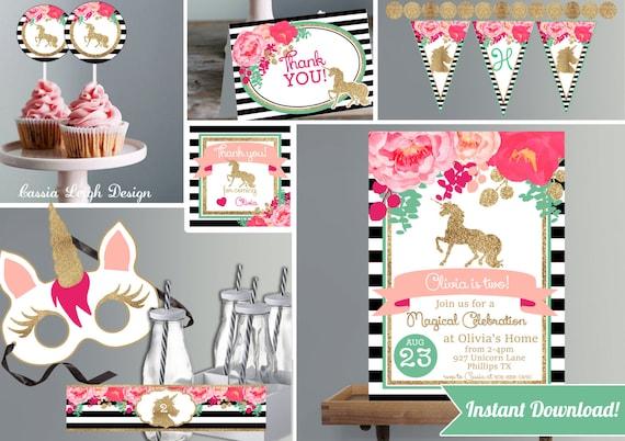Unicorn Birthday Invitations Pink and Glitter Unicorn Birthday