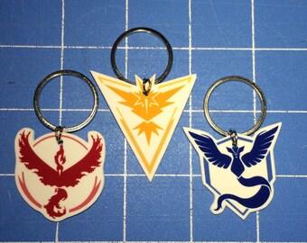 Pokemon Go - Team Mystic, Valor, Instinct Keychain, Necklace, Earrings, Charm