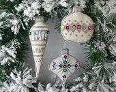 Set of Three Kitschy Faux Glass Ornaments