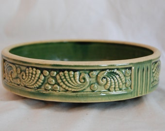 "Vintage McCoy Shell Planter-Green 8"" Round"