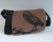 Hand Printed Owl Messenger Bag