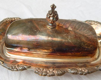Silver plate Butter Dish, Vintage Butter Dish
