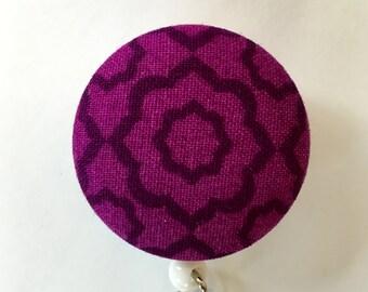 Magenta Badge Holder - Purple Badge Reel - Pattern ID Holder - Retractable Badge Holder - Name Badge Reel - Nurse Gift - Fabric Badge Reel