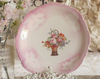 Vintage Wicker Flower Basket With PINK ROSES PLATE, Spring, Shabby Chic, Farmhouse