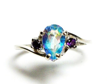 "Rainbow topaz, topaz accent ring, pink purple green, rainbow topaz ring, pear, 3 stone ring , s 6 3/4 ""Third Heaven"""