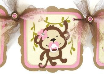 Monkey banner, monkey baby shower, monkey decorations, baby shower banner, it's a girl banner, pink and brown decorations, photo prop,