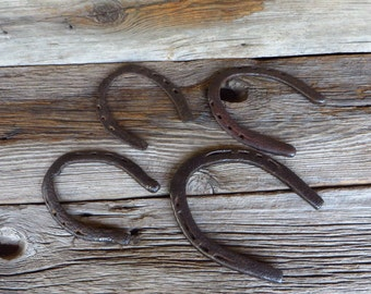 Horse Shoes 4 Rustic Metal Horseshsoes Primitive Farmhouse Decor Country Western Wedding Decor
