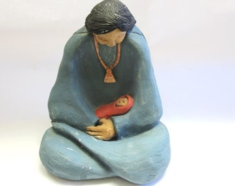 Little Rain Drop Comanche Art Handmade Clay Sculpture Parent And Child Signed