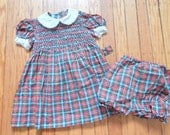 Sweet Vintage Toddler Hand-Smocked Dress Bright Clean Cotton Plaid Fabric