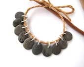 Beads Rock Beach Stone Jewelry Supplies Jewelry Charms Mediterranean Natural Stone Beads River Stone Rock Pairs DARK GRAY MIX 13-14 mm