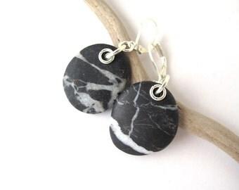 Beach Stone Earrings Mediterranean Beach Pebble River Stone Jewelry Natural Stone Rock Earrings Striped Black Silver STRIPY