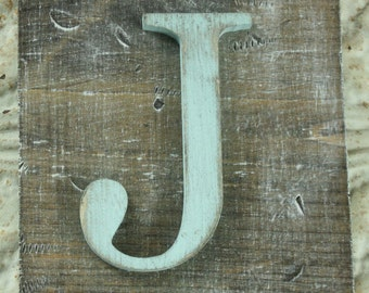 Wood letter sign- Robin egg blue J- Faux barnwood Wall hanging letter READY TO SHIP J