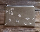 Khaki Zipper Pouch with Hand Embroidered Leaves in Natural White, Nature Inspired Pure Cotton Cosmetic Bag