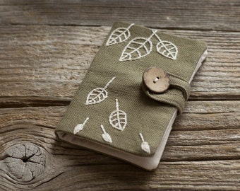 Khaki Cotton Credit Card Wallet with Hand Embroidered Leaves in Natural White, Nature Inspired Card Holder, Organizer