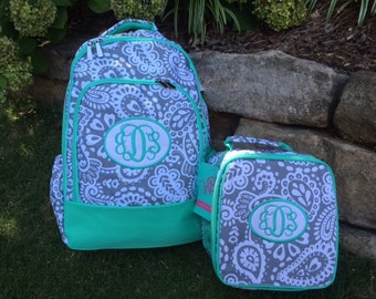 Gray Paisley Backpack with patch applique monogram & Matching Lunchbag - Back to School - NEW ITEM