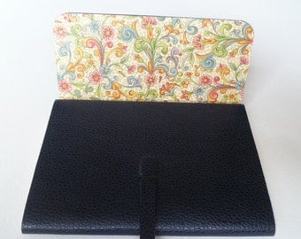 Leather Sketchbook Leather Journal. Dark Blue Beautifully Grained Leather Lined with a Floral Decorative Paper with Gold Highlights.