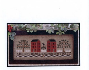 Little House Needleworks: Two Red Houses - Cross Stitch Pattern
