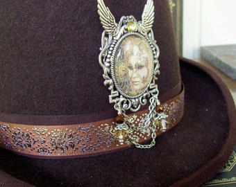 Masquerade Hat Adornment (P624) Brooch or Pin, Silver Hardware, Crystal Dangles and Chains, Tie Tack Pins