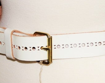 1960s or 1970s wide white leather belt / mod hippie retro fashion / cut out design / new old stock with tag