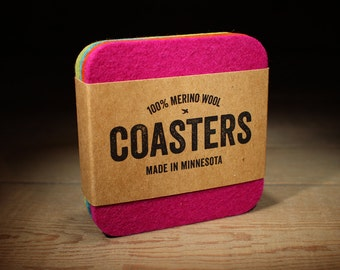 Modern Coasters - 100% Merino Wool Felt - Square - 5mm Thick German-milled Felt - Spring Colors - Natural and Renewable