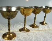 Vintage Cordial Goblets - Tiny SMALL Brass and Silver Plated Glasses - Vintage Wedding - Bar Accessories - Set of 4