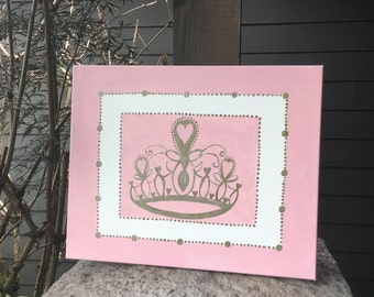 Baby Pastel Pink Princess Crown Wall Canvas