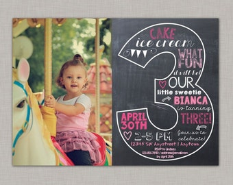 Third Birthday Invitation, 3rd Birthday Invitation, Girl Birthday Invitation