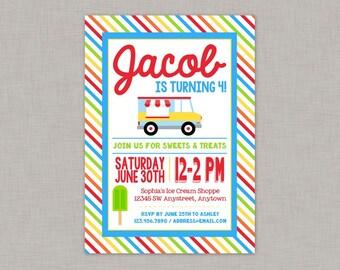 Ice Cream Invitation, Ice Cream Birthday, Ice Cream Party, Ice Cream Truck, Boy