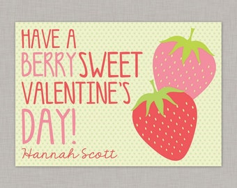 Strawberry Valentine Card, Classroom Valentines, Classroom Valentine's Day Card, Kids Valentine Cards, Kids Valentines