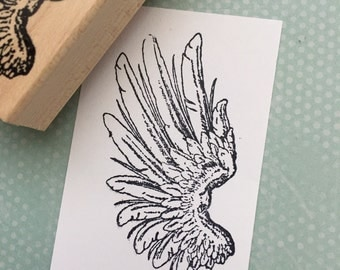 Bird Wing Wood Mounted Rubber Stamp 5889