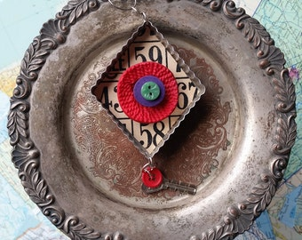 Upcycled Ornament - Diamond/Buttons - Cookie Cutter Ornament - Hanging Decor by Jen Hardwick