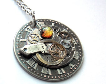 "Steampunk Necklace ""Frozen in Time"""