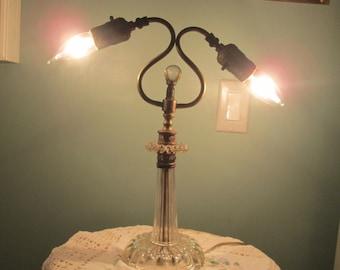 Vintage Crystal Table Lamp / 60s Two Socket Lamp / Desk Lamp / Hollywood Regency