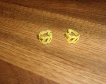 vintage clip on earrings yellow metal hoops