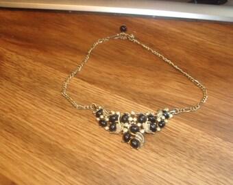vintage necklace choker goldtone chain black beads rhinestones