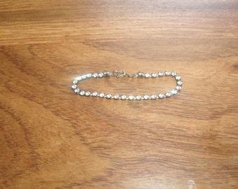 vintage bracelet small rhinestones silvertone